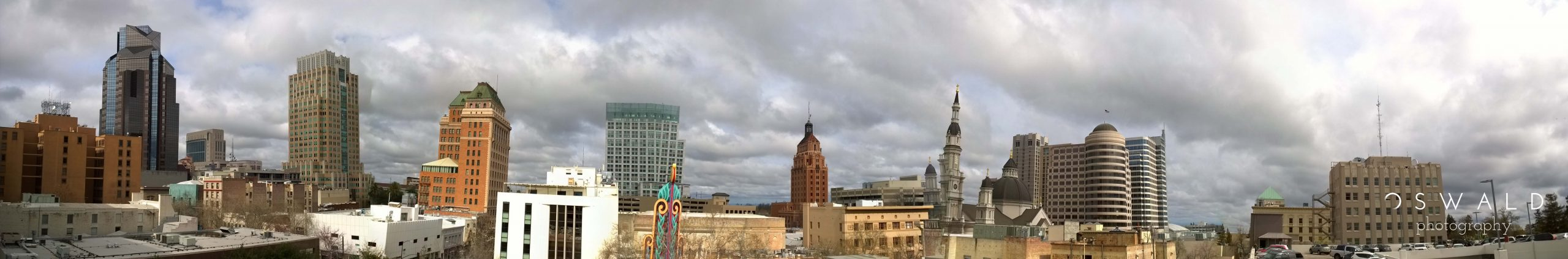 Crooked Panorama of Buildings in Downtown Sacramento
