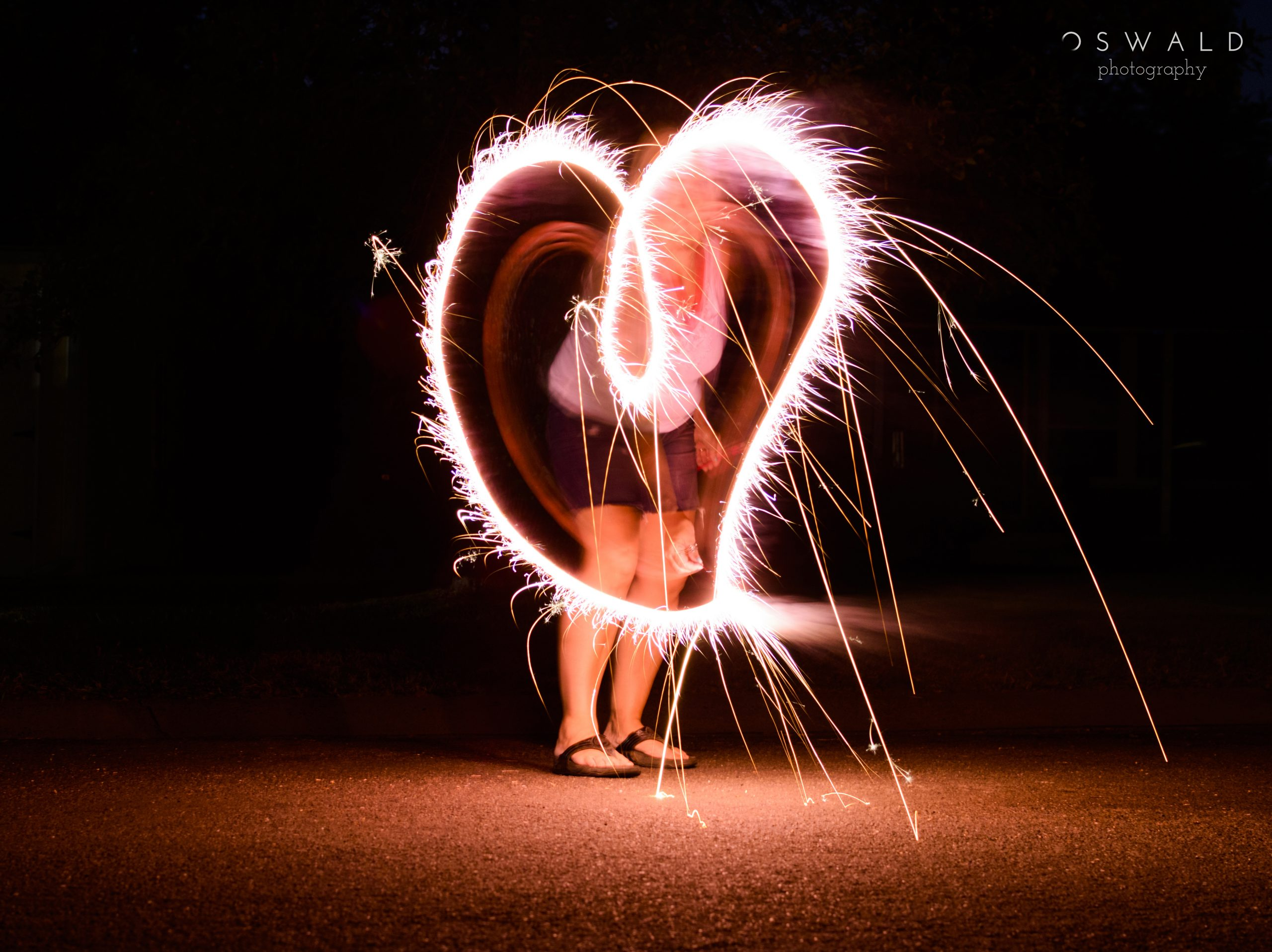 Long exposure of sparkler making a heart shape