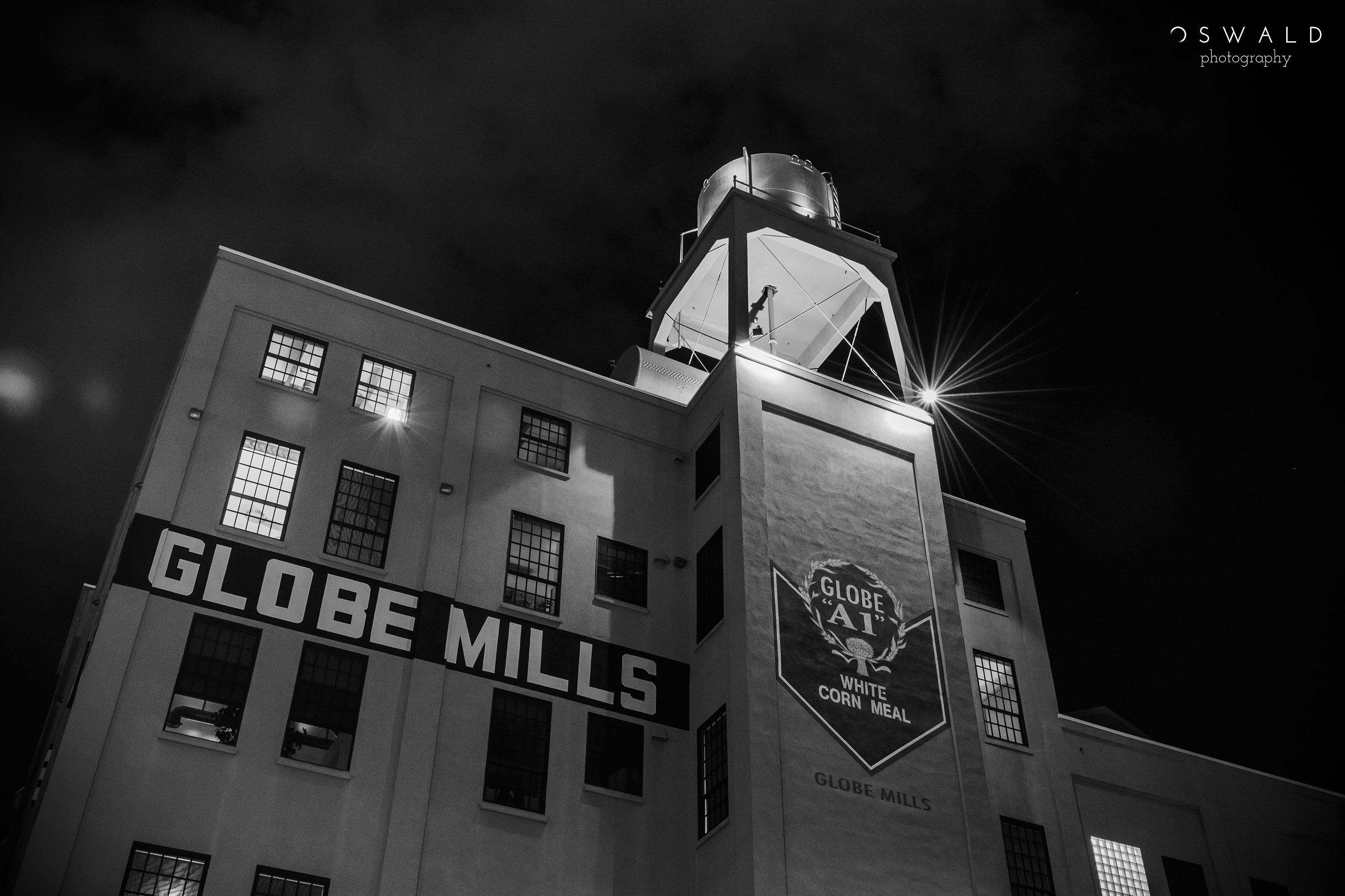 Monochrome photo of the Old Globe Mills building in Downtown Sacramento
