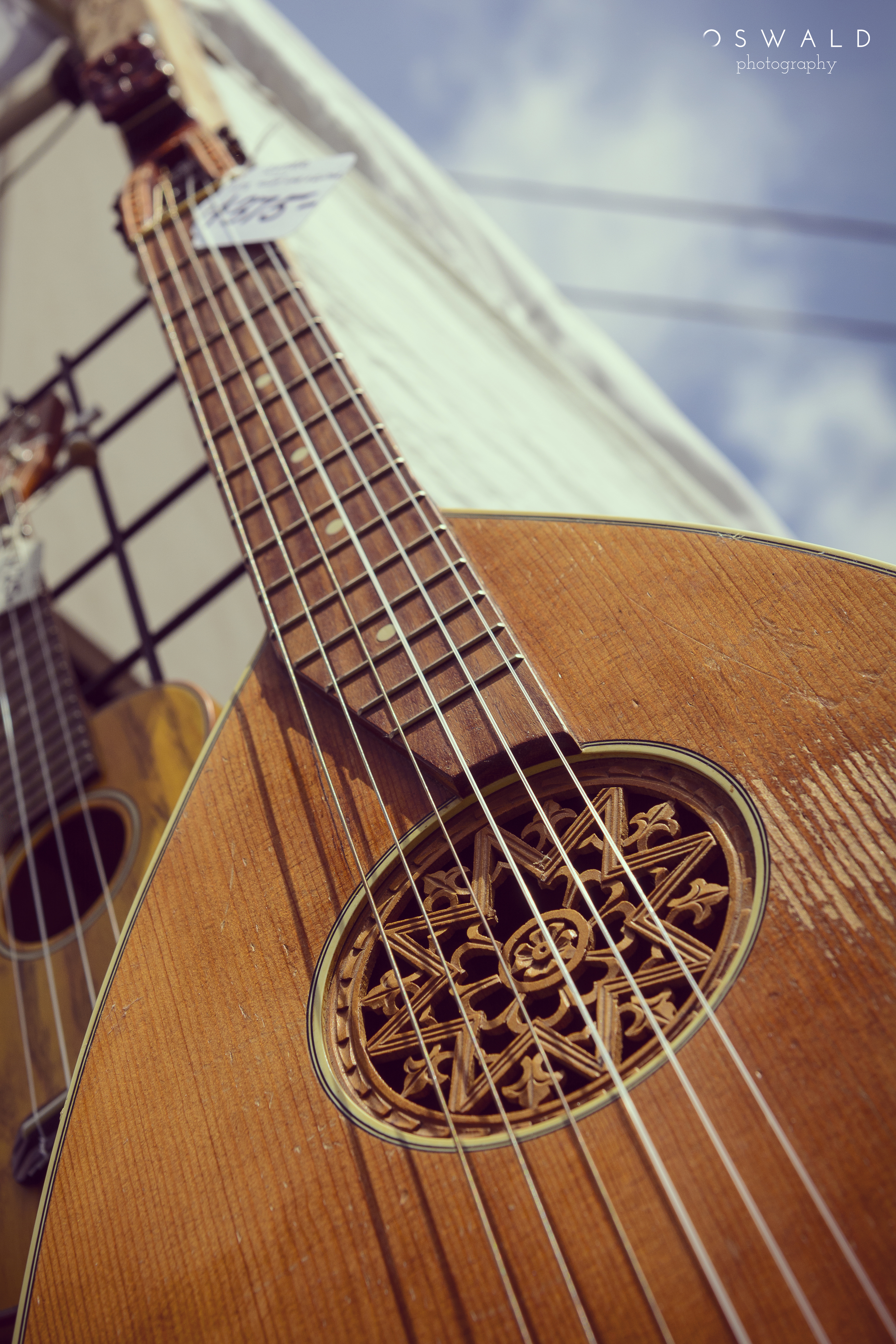 Photo of the fretboard of a classical lute replica, for sale at a market