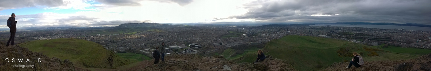 Panoramic photo taken from the summit of Arthur's Seat