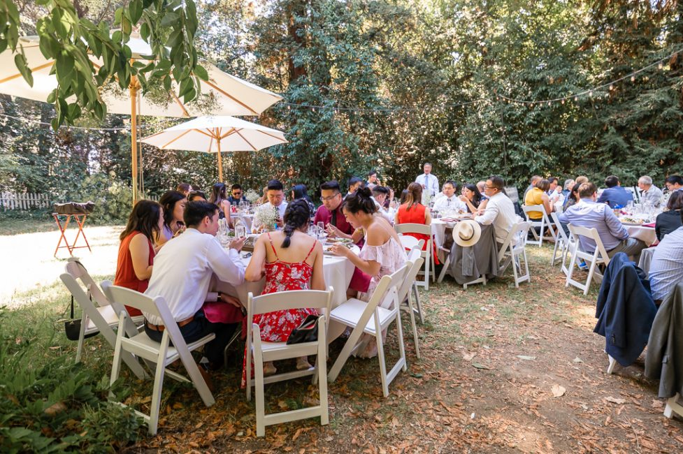 The guest enjoy a meal during an Ardenwood Historic Farm wedding