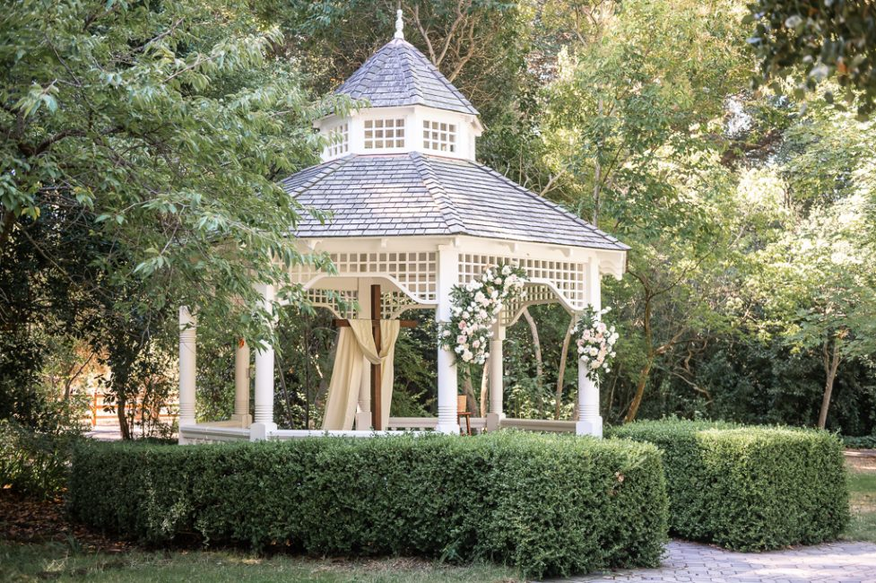 A gazebo decorated for an Ardenwood Historic Farm wedding