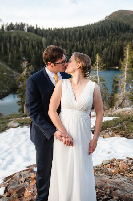 Newlyweds kiss during their Carr and Feeley Lakes Elopement