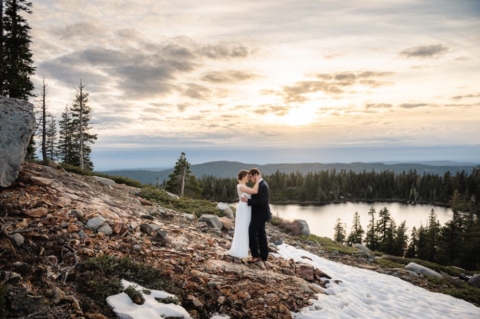 Sunset at Carr and Feeley Lakes Elopement