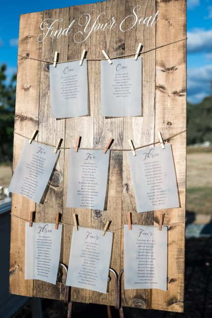 Photograph of a rustic wedding reception seating map