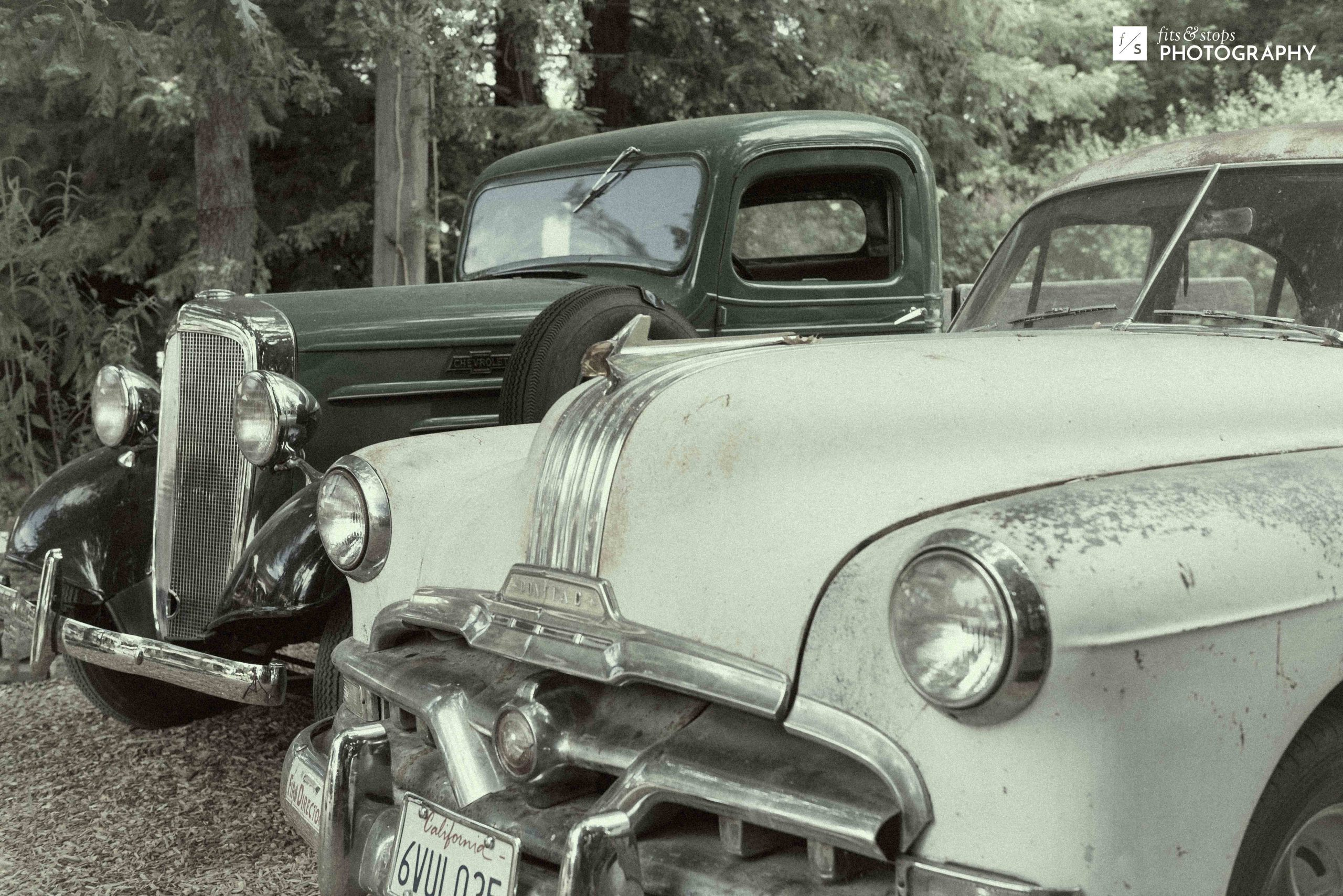 A desaturated photograph of an Pontiac and an Chevy from days gone by parked in a forest in Windsor, California.