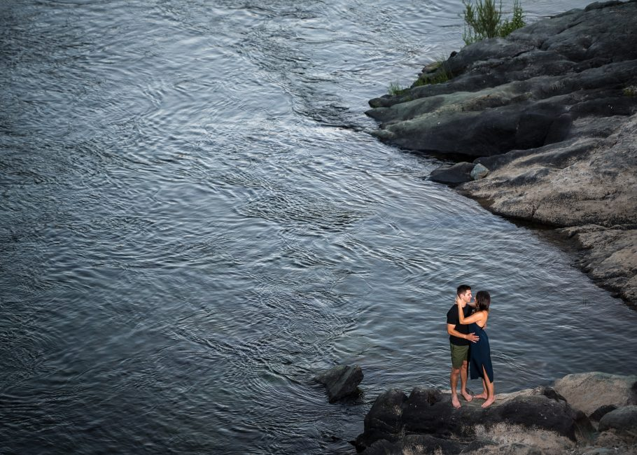 Engagement photo at the American River Confluence