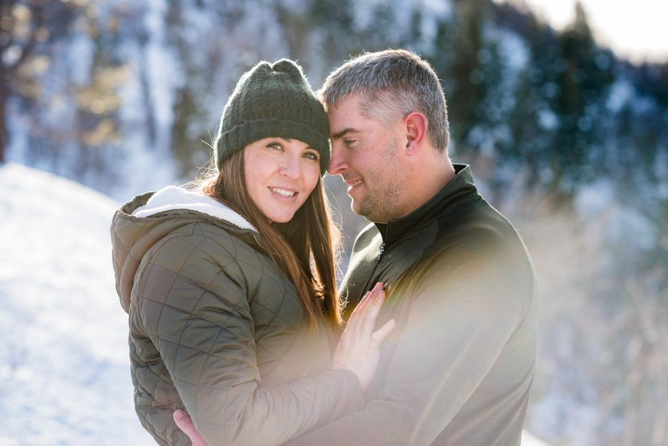 Romantic couples portrait in the snow at Emmigrant Gap, CA
