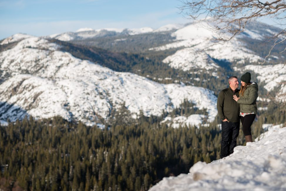 Environmental portrait of a husband and wife above Emmigrant Gap.