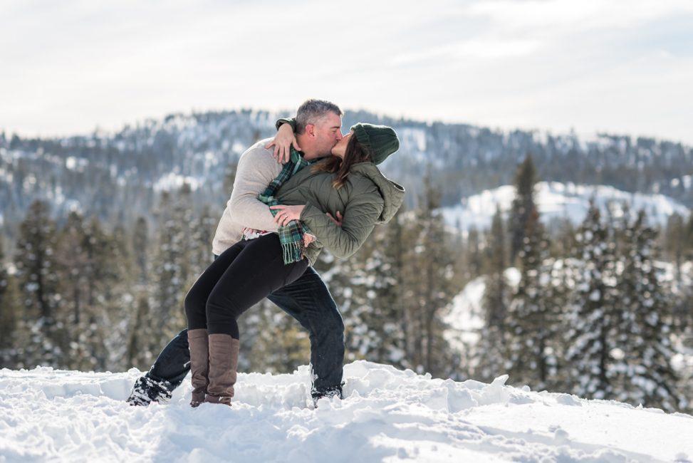 Romantic couples Portrait in the snow at Loch Leven Trailhead