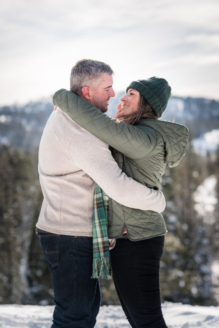 Romantic husband and wife Portrait in the snow
