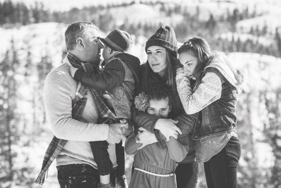 Monochrome Family Portrait in the snow at Loch Leven Trailhead