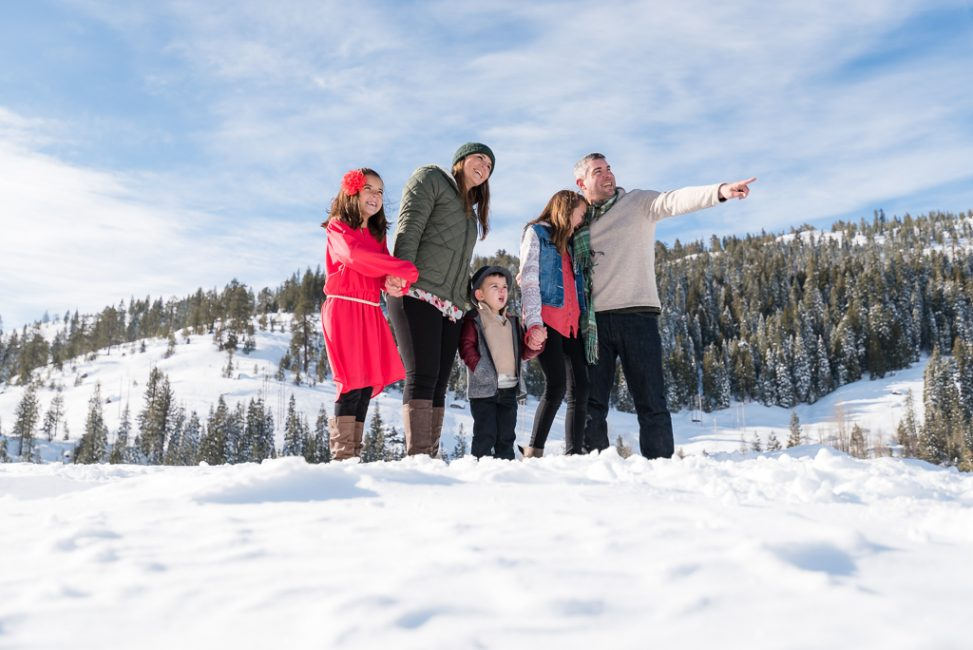 Silly family portrait in the snow in Northern California