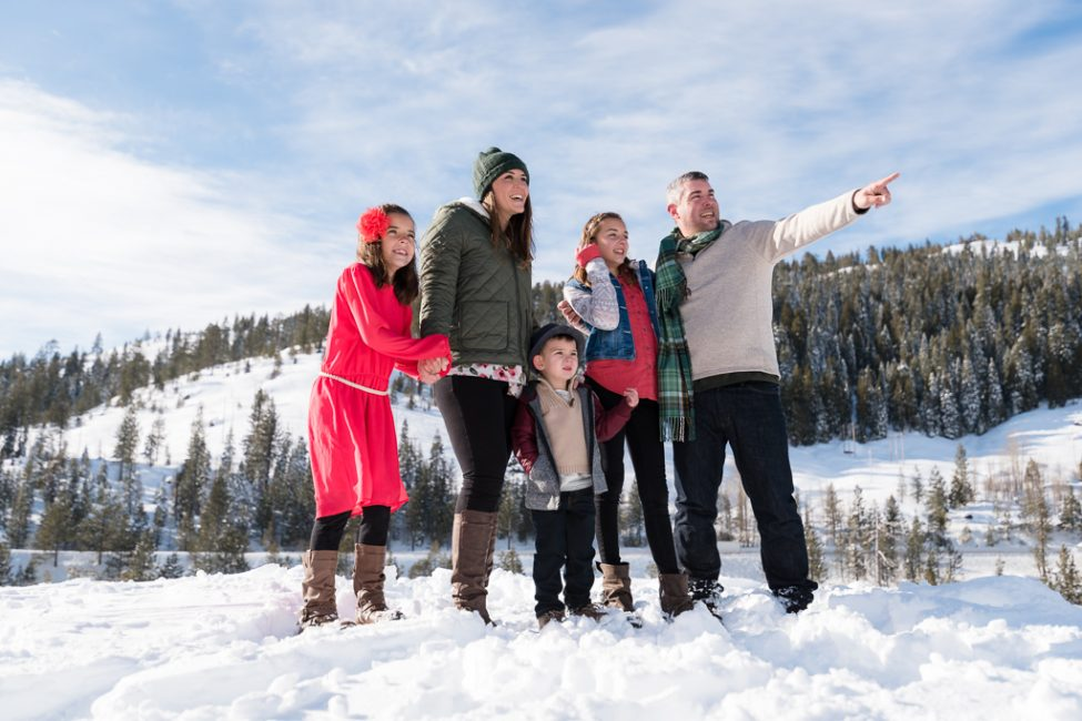 Silly family portrait in the snow in the Sierra Nevada Mountain Range