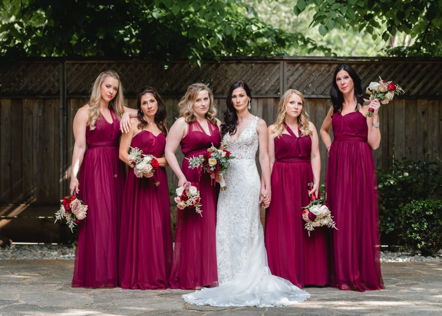 Bridesmaids get moody at a Forest House Lodge Wedding