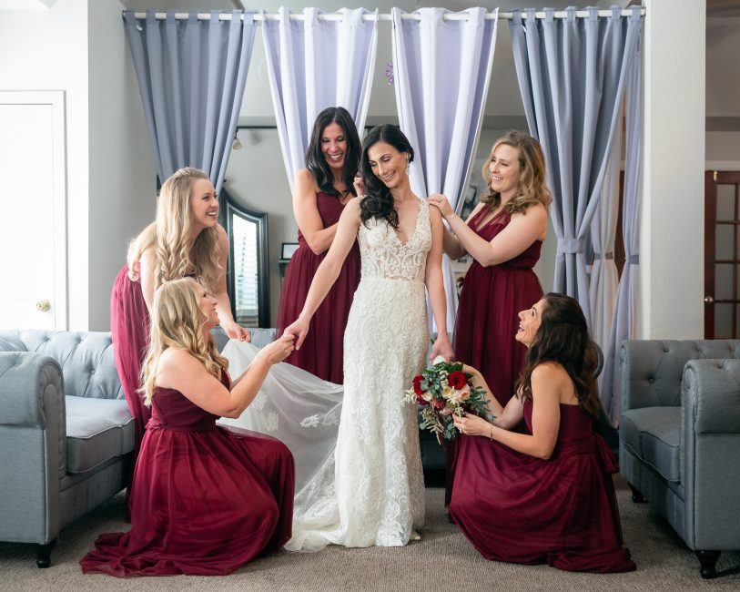 A bride and her bridesmaids prepare for a Forest House Lodge Wedding