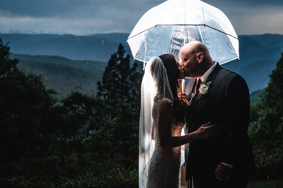 Dramatic newlywed shot at a Forest House Lodge Wedding