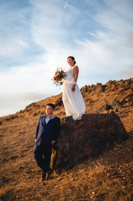 Epic wedding photo captured at Coyote Hills Regional Park in Northern California.