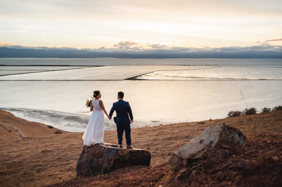 Newlyweds peer out over the San Francisco Bay Area from Coyote Hills Regional Park.