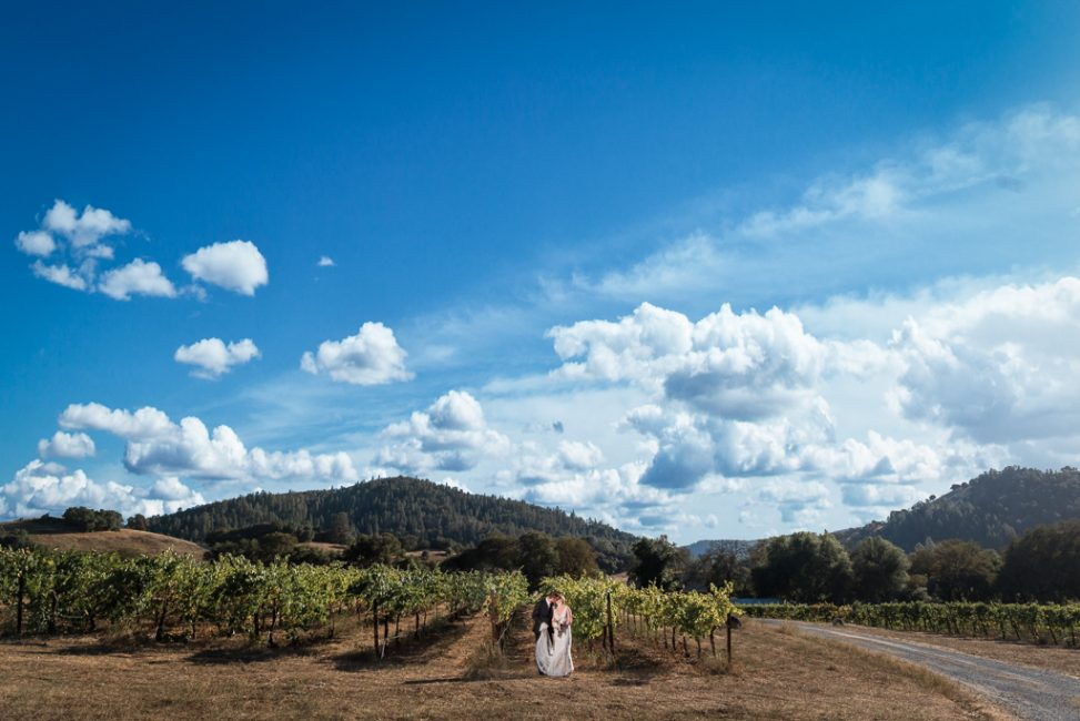 A bride and groom walk the vines of Hart 2 Hart Vineyards at a foothills wedding.