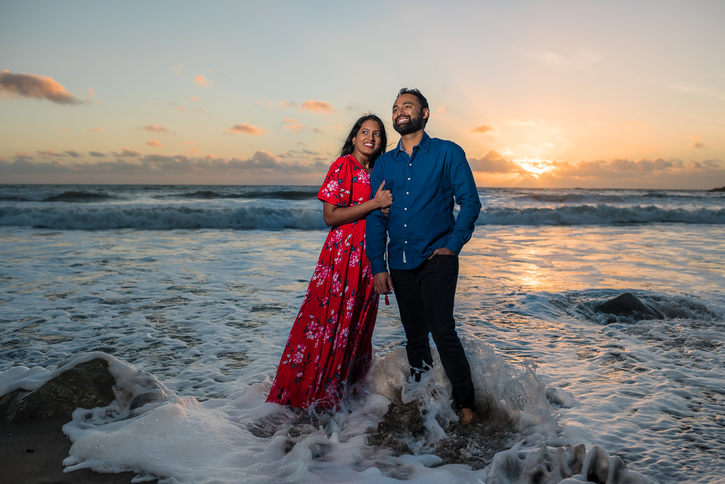 Muir Woods and Muir Beach engagement photograph at sunset