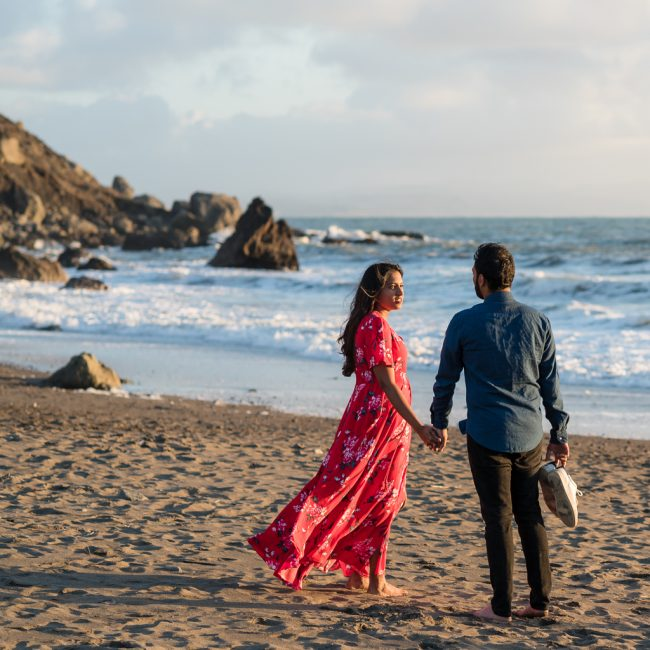Muir beach engagement photo