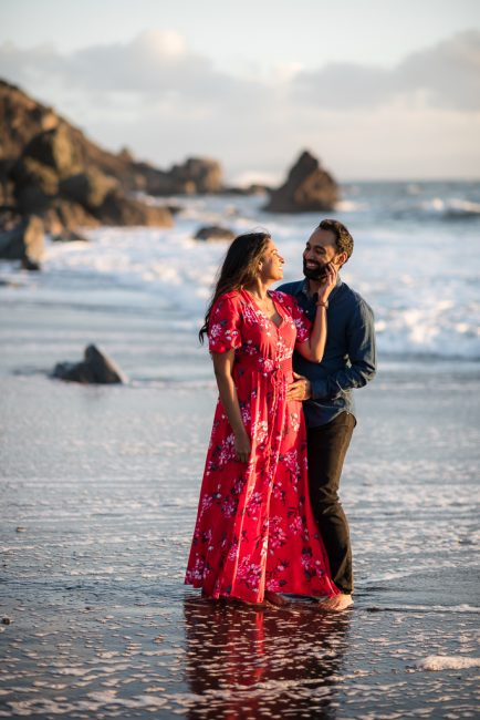 Muir Beach engagement photos for a young Indian couple