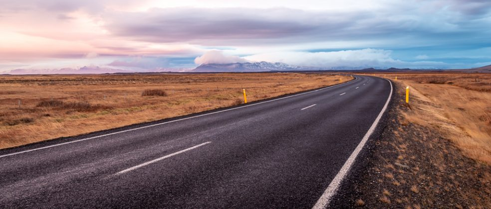An open stretch of highway on Iceland's Snæfellsnes Peninsula