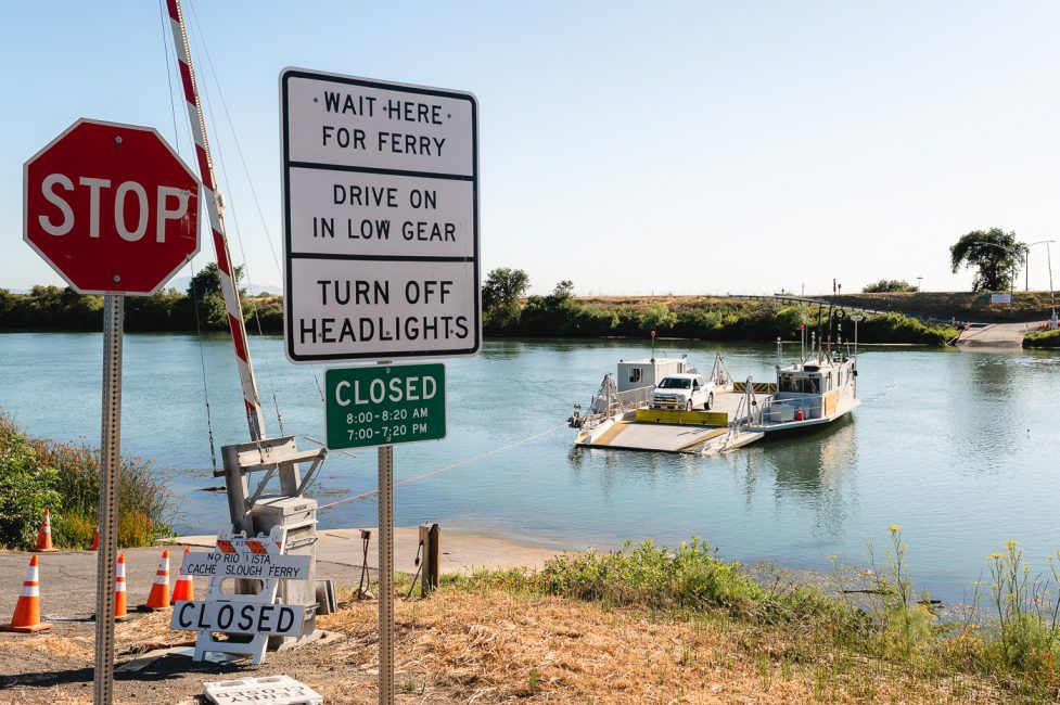 The J-Mack ferry serves at the Steamboat Slough Ferry Crossing near Rio Vista, CA.