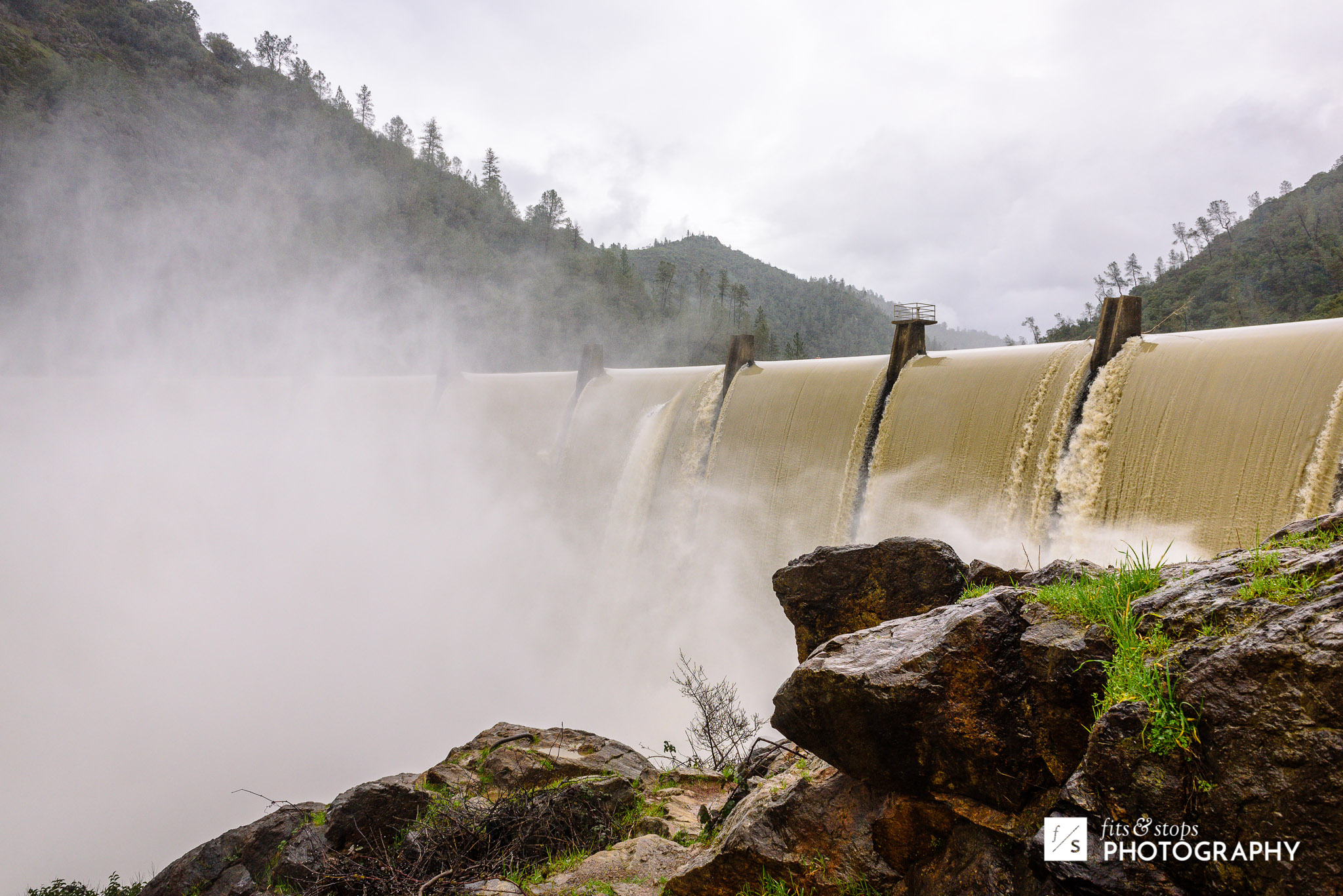 Dam overflowing at Lake Clementine