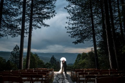 Forest House Lodge Wedding during a rainstorm