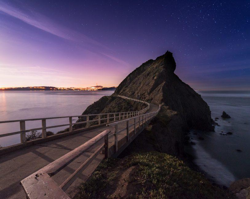 Nighttime long exposure photo of Point Bonita, outside of San Francisco, California.
