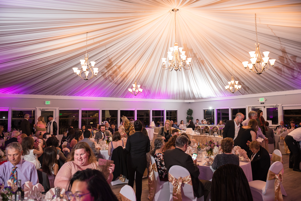 Interior photo of a wedding reception at Dominic's at Oyster Point.