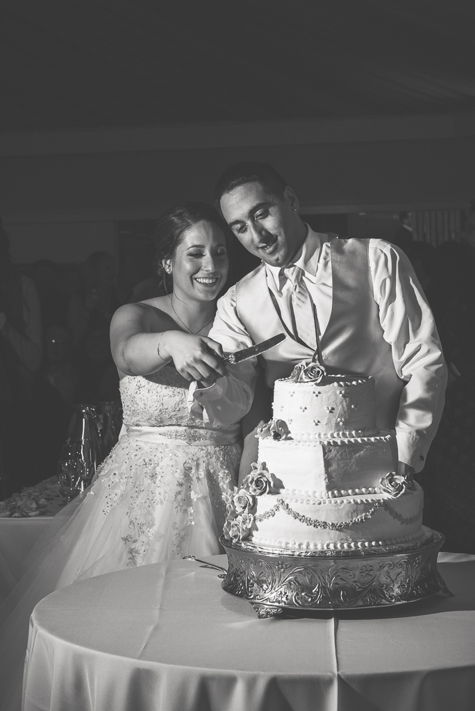 Black and white photograph of a bride and groom prepare to cut their wedding cake with a knife.