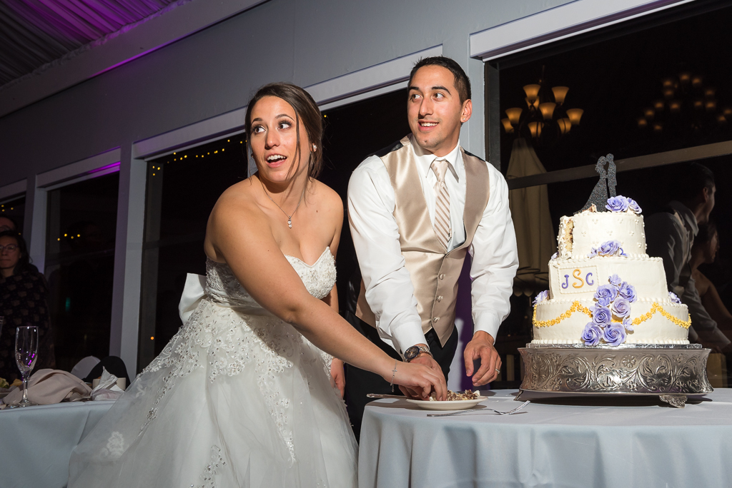Photo of a bride and groom preparing to cut their wedding cake.