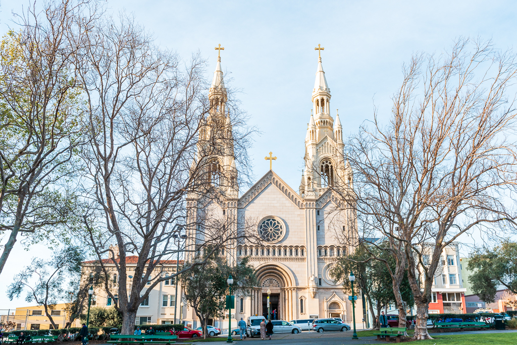 Photo of the exterior of Saints Peter and Paul Church in San Francisco, California.