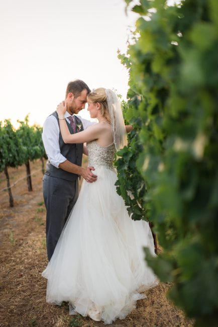 A bride and groom nuzzle head to head in a vineyard in San Martin, CA.