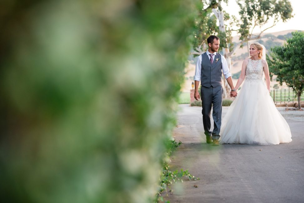 A bride and groom walk along a road in northern California farmland.