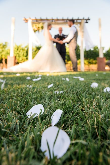 Flower petals cover the ground in front of a bride and groom exchanging vows.
