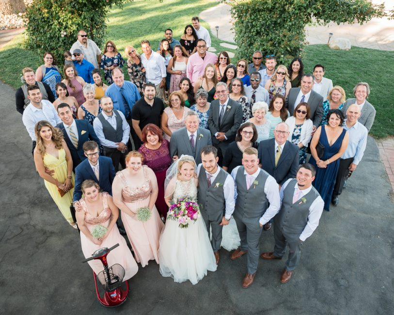 Photograph of all wedding guests in one image.