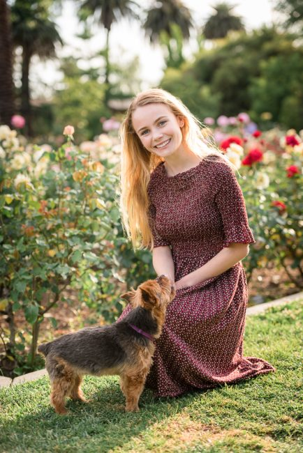 Senior Portraits in a Sacramento flower garden.