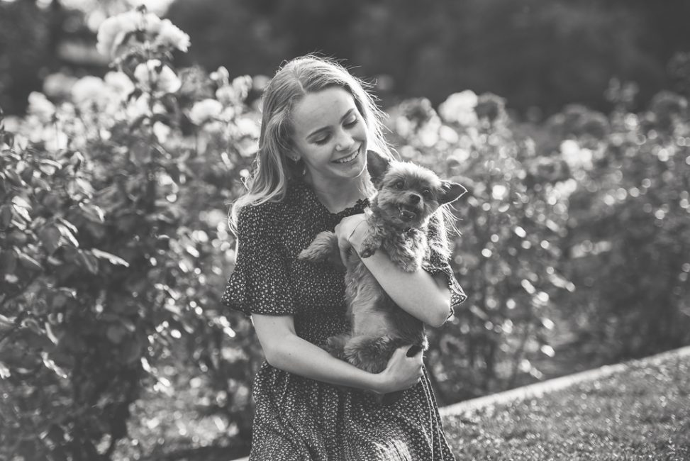 Senior Portraits with a dog at a downtown Sacramento park.