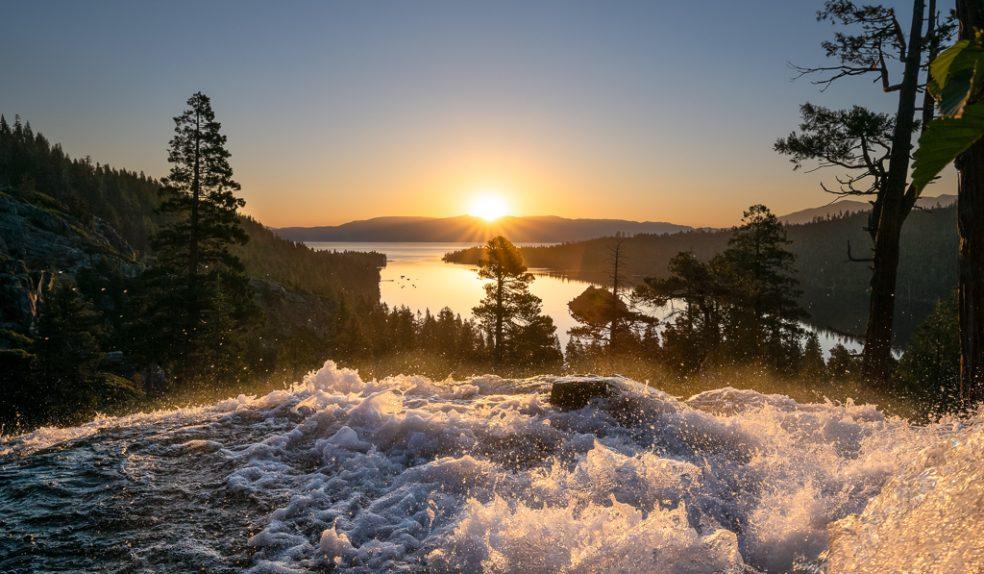 Sunrise above Eagle Falls at Emerald Bay