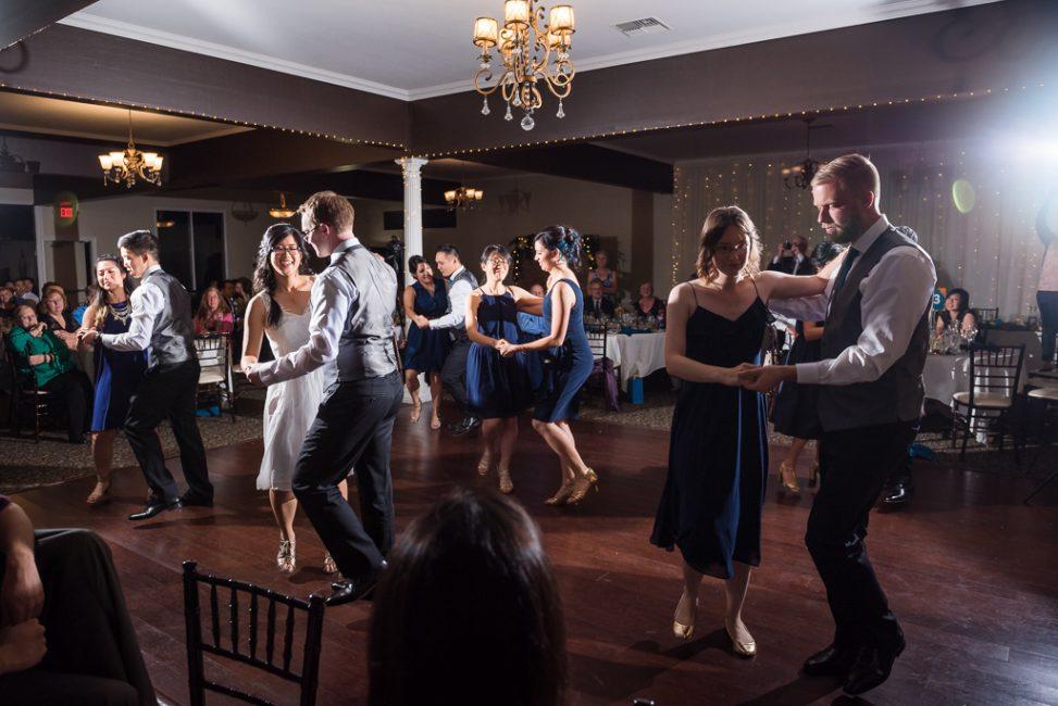 Choreographed dancing at a gamer's wedding