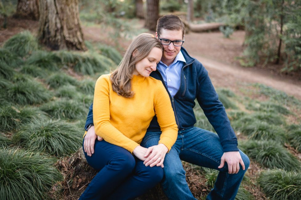 UC Davis Arboretum Engagement Photography in a forest