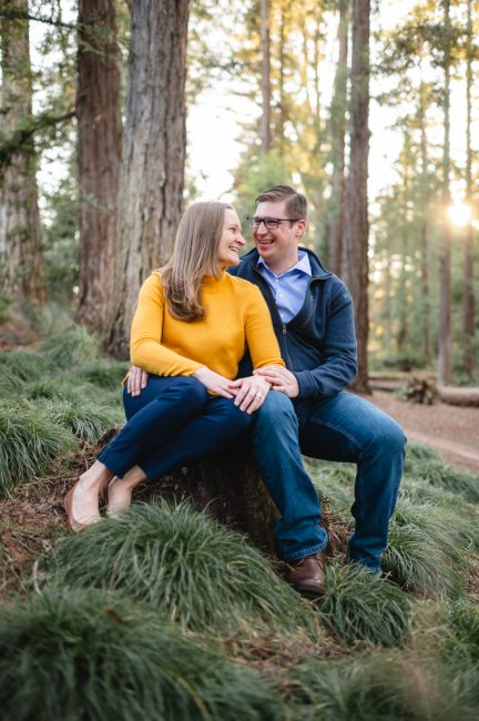 UC Davis Arboretum Engagement Photos in a Redwood Grove