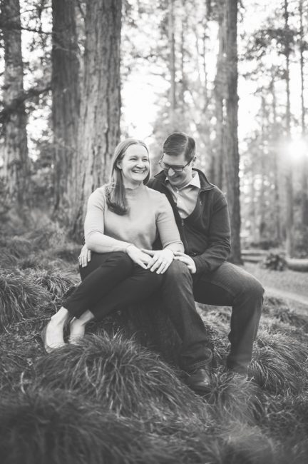 UC Davis Arboretum Engagement Session in a Redwood Grove
