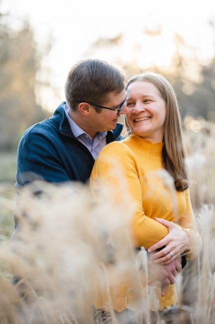 Young couple in a UC Davis Arboretum Engagement Session